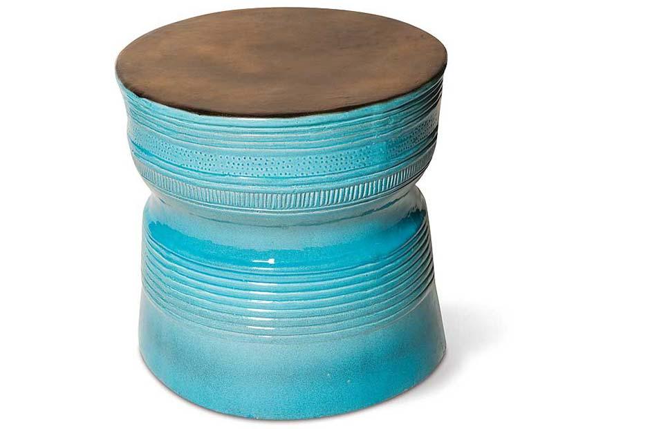 Metallic & Turquoise Blue Ringed Table
