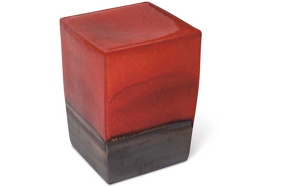 Red / Metallic Two Glaze Square Cube