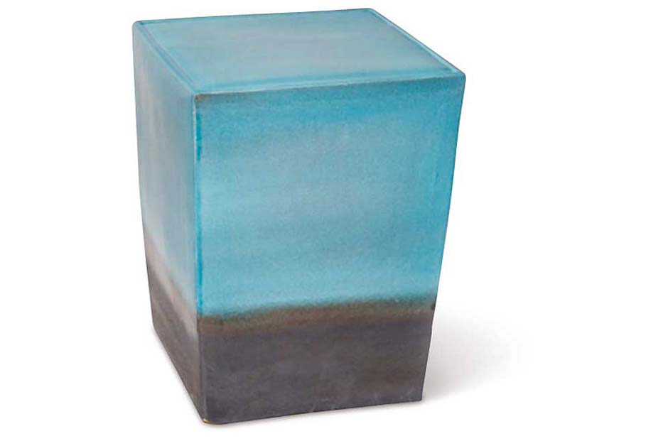 Turquoise/ Metallic Two Glaze Square Cube