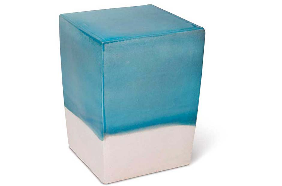 Turquoise Blue / White Two Glaze Square Cube