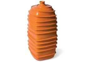 Orange Ribbed Square Bottom Jar