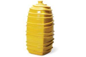 Yellow Ribbed Square Bottom Jar