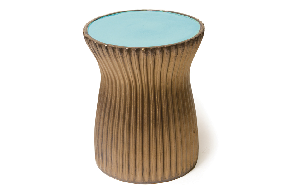 Ceramic Ridge Stool Turquoise Blue Metallic 308FT226P2TBM