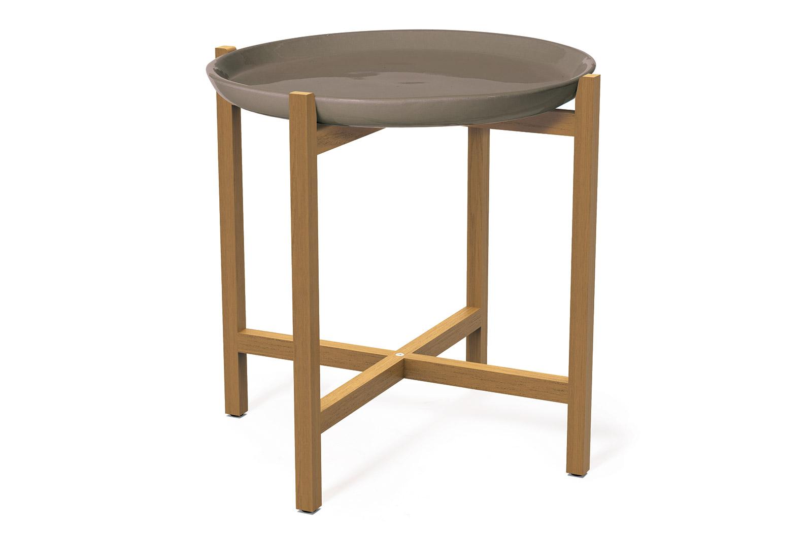 Attirant Ceramic Ibis Ceramic And Teak Accent Table