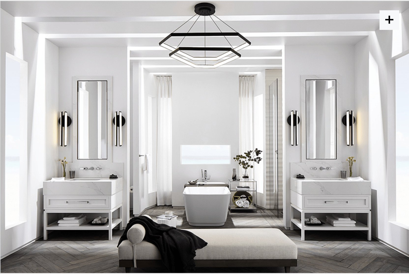 A stunning bathroom designed by Laura Muller of www.fourpointdesignbuild.com for luxury bathroom brand, DXV