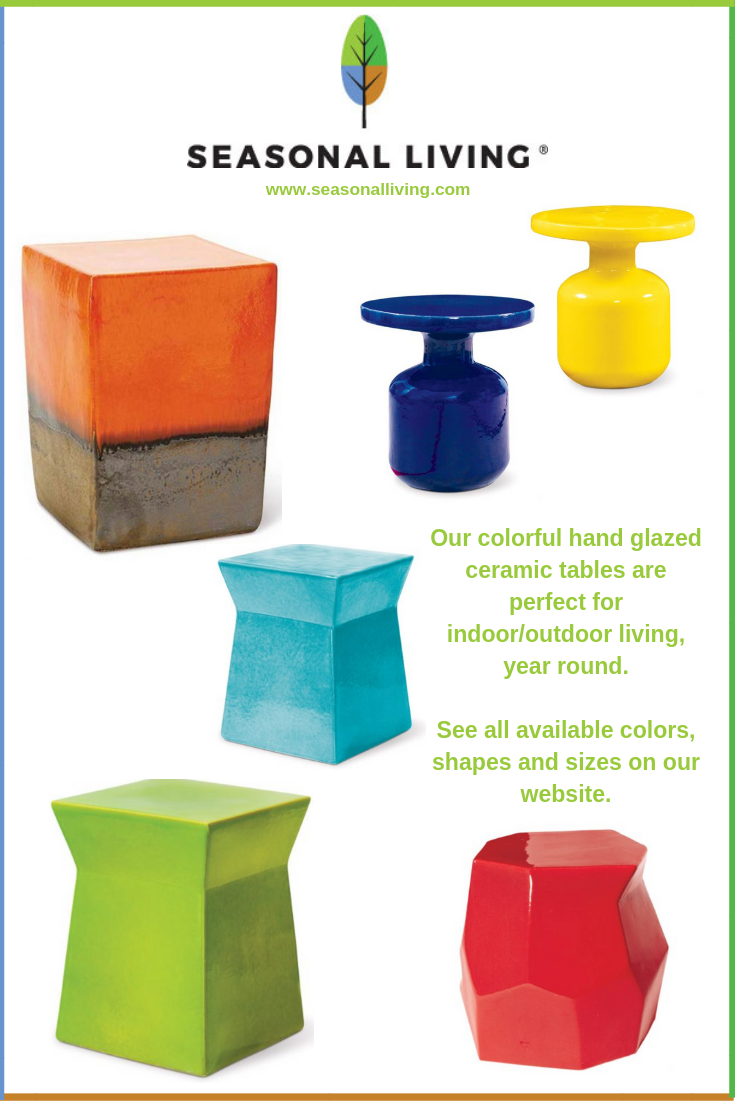 Colorful glazed ceramic accent tables for indoor outdoor living from Seasonal Living Trading Company
