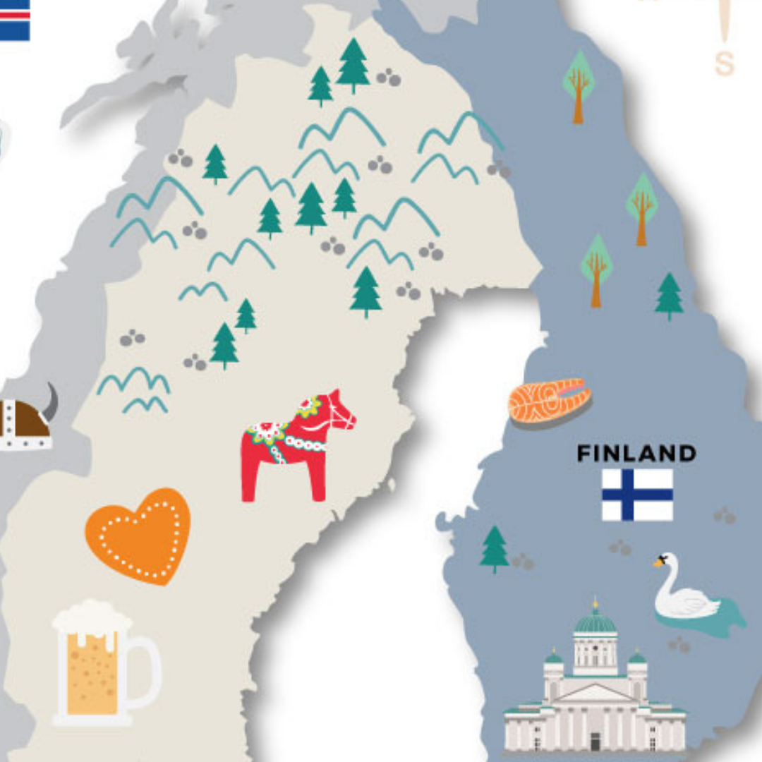 Illustrated Map of Scandinavia