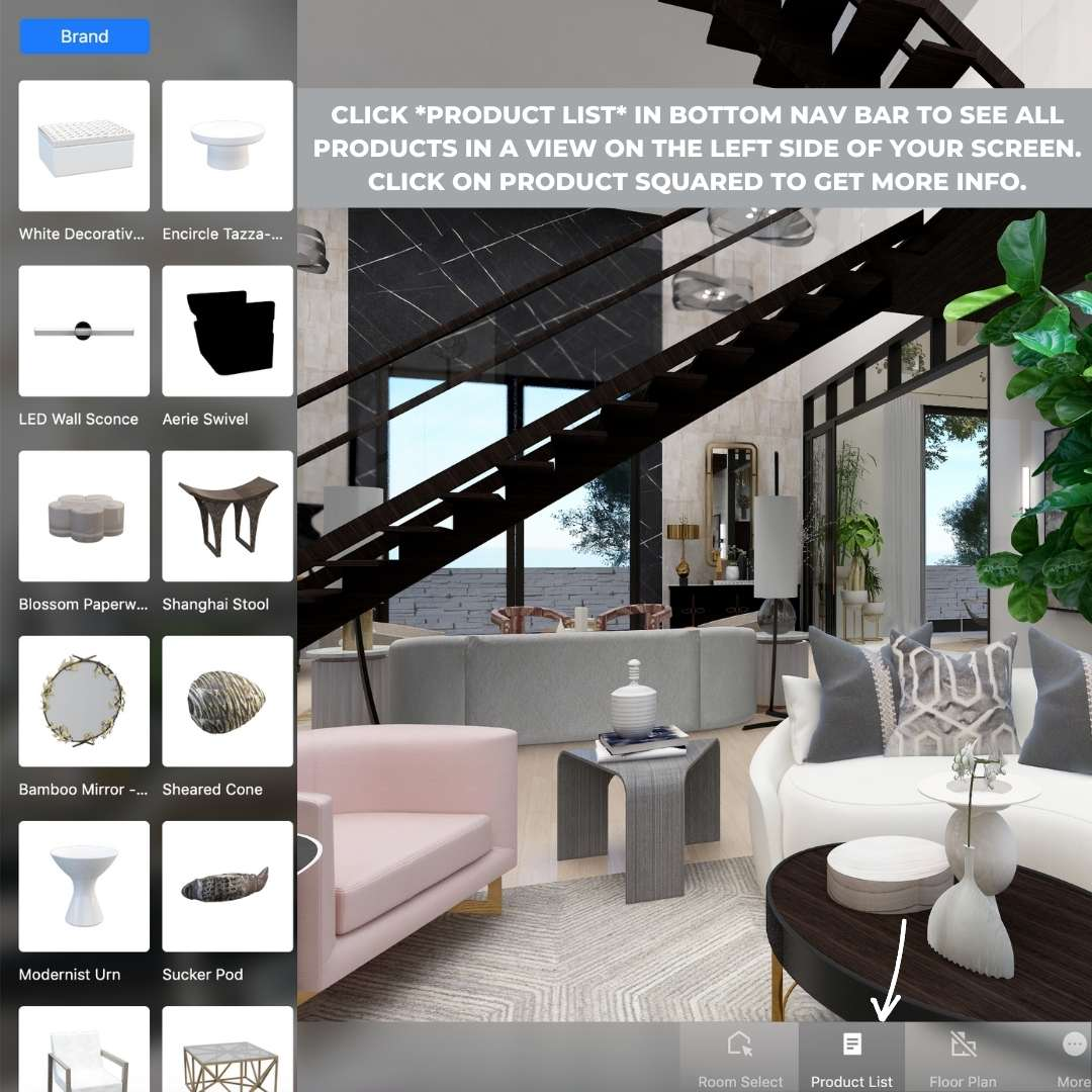 Image shows how to find the PRODUCT LIST in Seasonal Living Magazine's Virtual Designer Showhouse