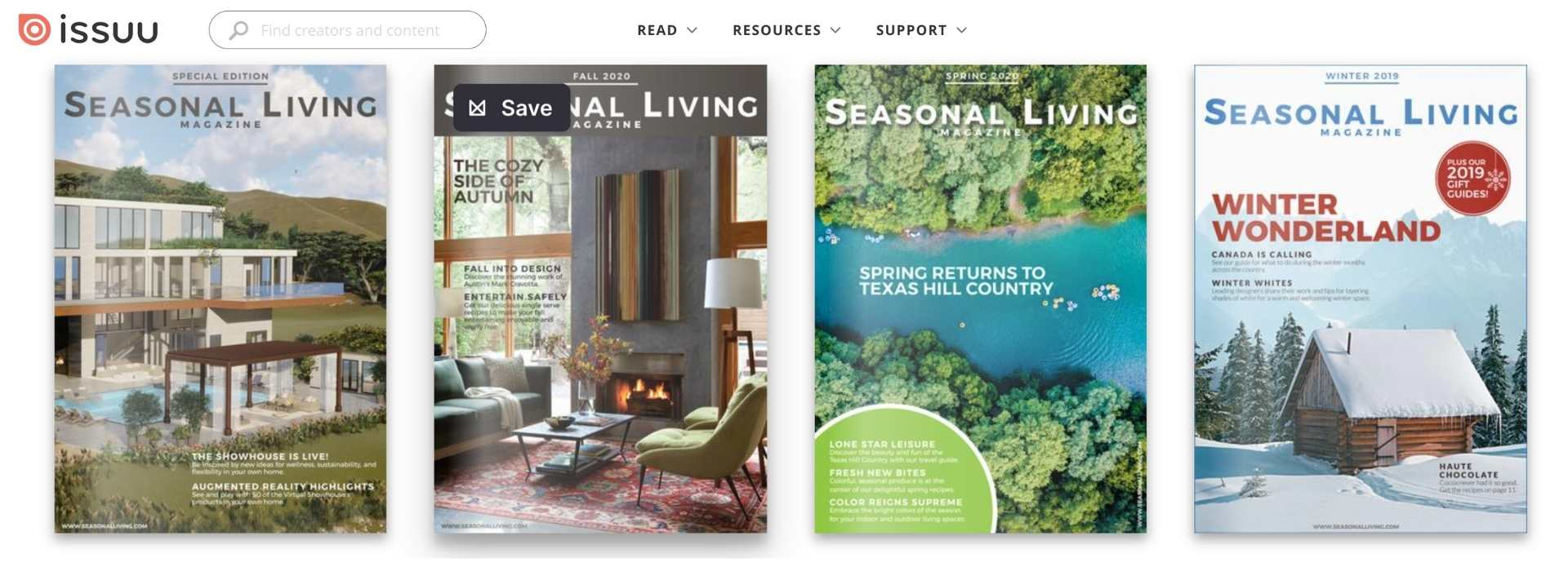 Covers of last four issues of Seasonal Living Magazine