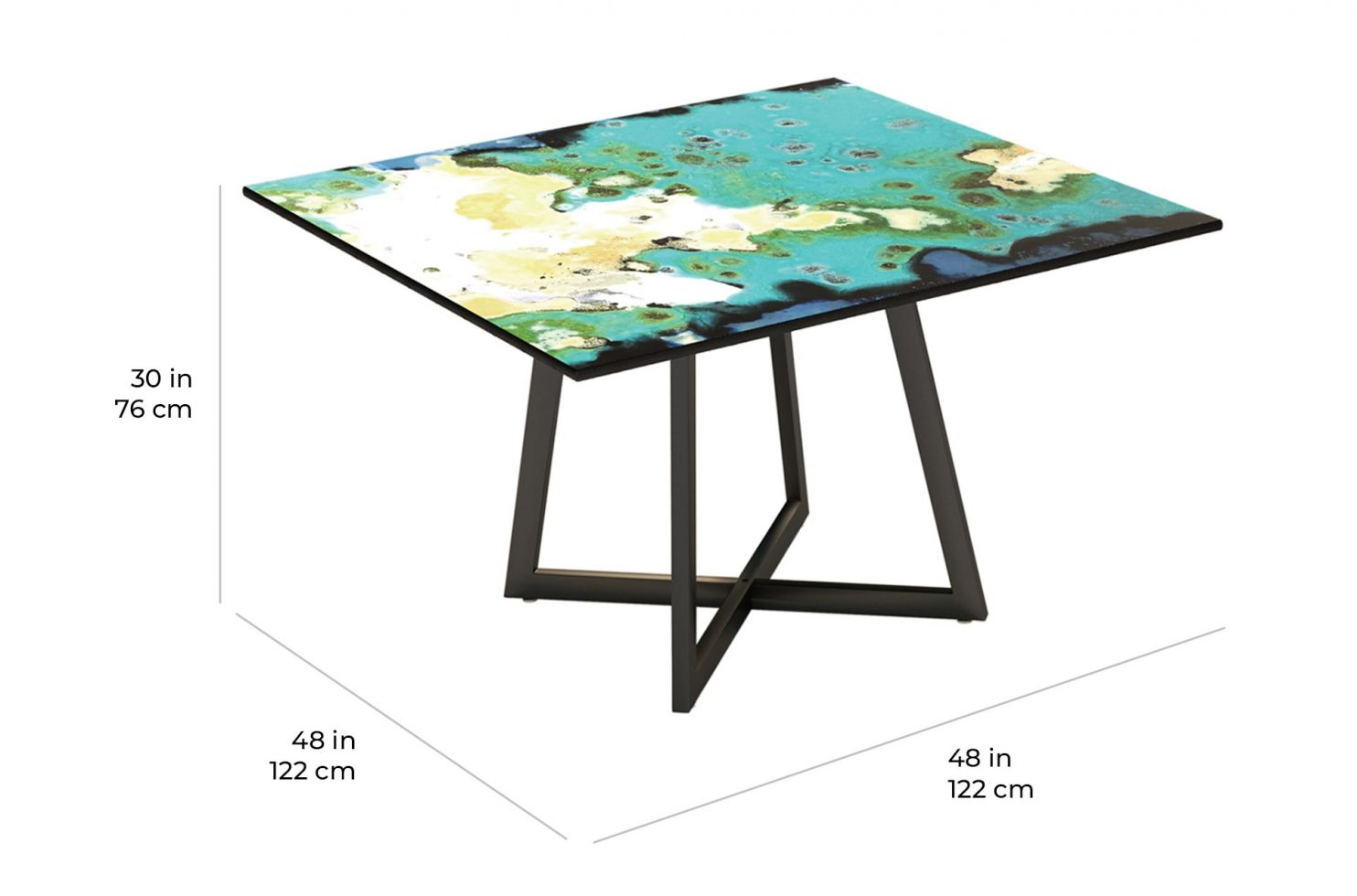 etna dining square 390FT006P2 scale dims